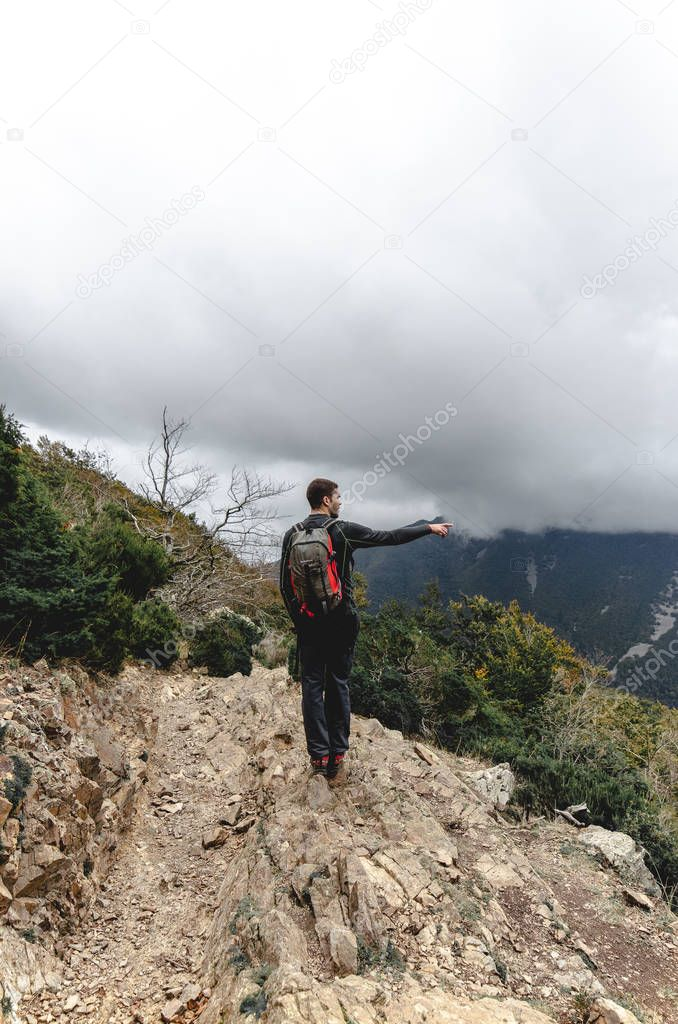 Man in mountain climbing