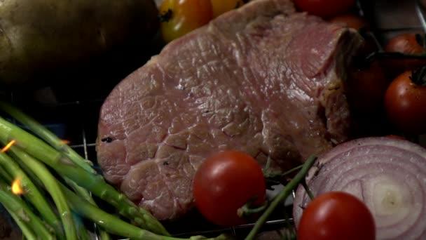 Beef Steak Grillen Zeitlupe