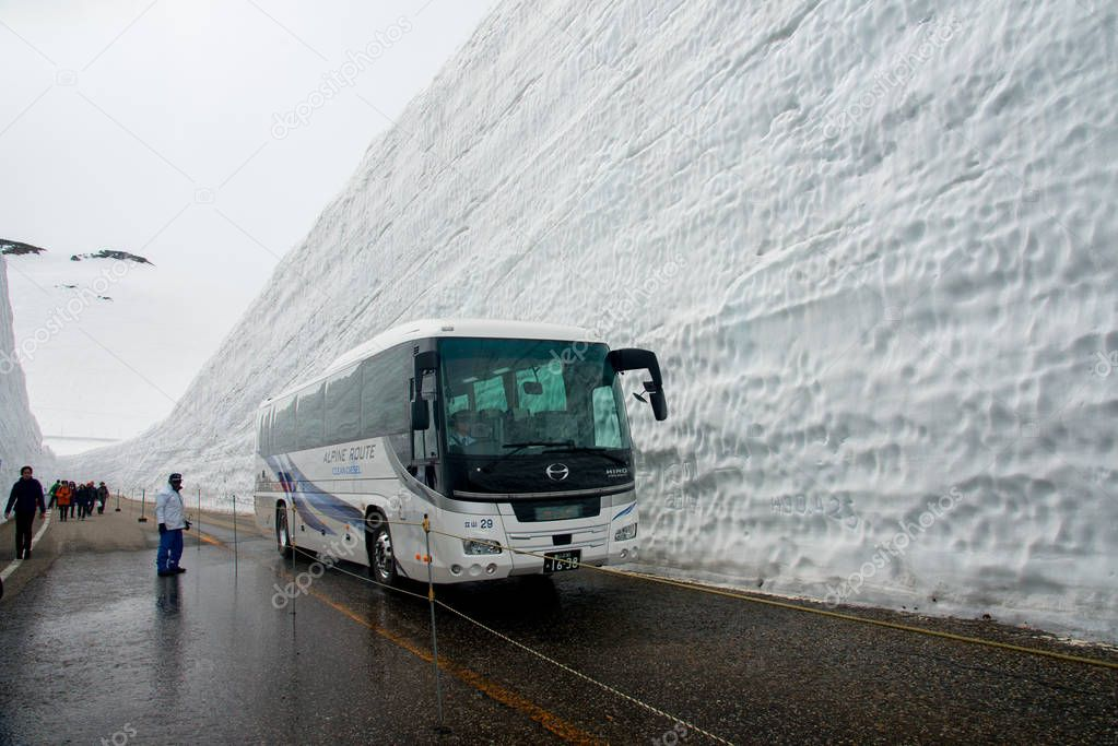 Tateyama, Japan  Tateyama is a popular place for the snow wall, Yuki-no-Otani. Travelers can walk between the snow walls for 500m. The height of the walls are about 17m this year. This mountain area get about 20m of snow every year.