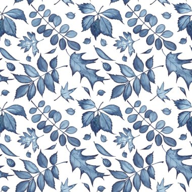 Seamless pattern with forest leaves painted with indigo watercolor on white background.