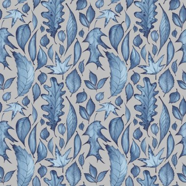 Seamless pattern with different kind of leaves. Watercolor illustration, dark blue on gray background.