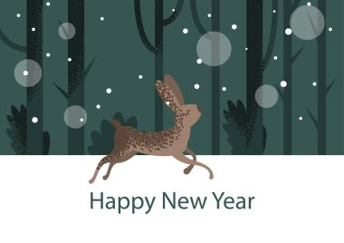 Vector flat styled illustration with running through forest rabbit on the background with trees