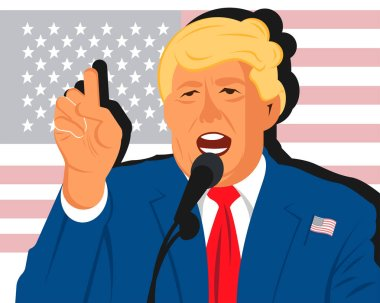 Cartoon flat portrait of Donuld Trump