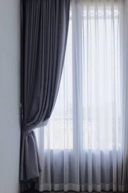Gray and white see through curtains, Curtain interior decoration