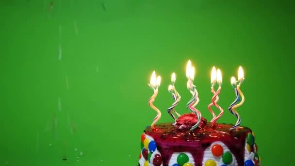 Happy Birthday Cake Green Background Stock Video C Pterbran 215983820
