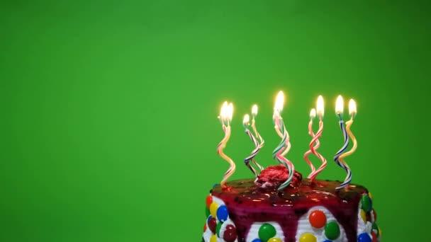 Peachy Happy Birthday Cake Green Background Stock Video C Pterbran Birthday Cards Printable Benkemecafe Filternl