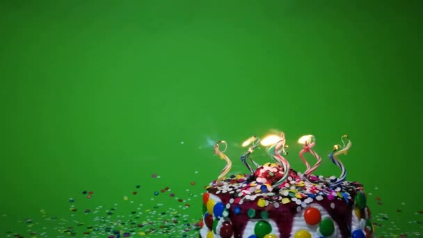 Sensational Happy Birthday Cake Green Background Stock Video C Pterbran Birthday Cards Printable Benkemecafe Filternl