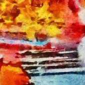 Original abstract painting at canvas. Mixed media pattern. Hand