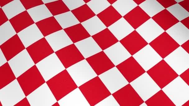 Nahaufnahme von kroatischer rot-weißer Kartonwand, die Flagge schwenkt