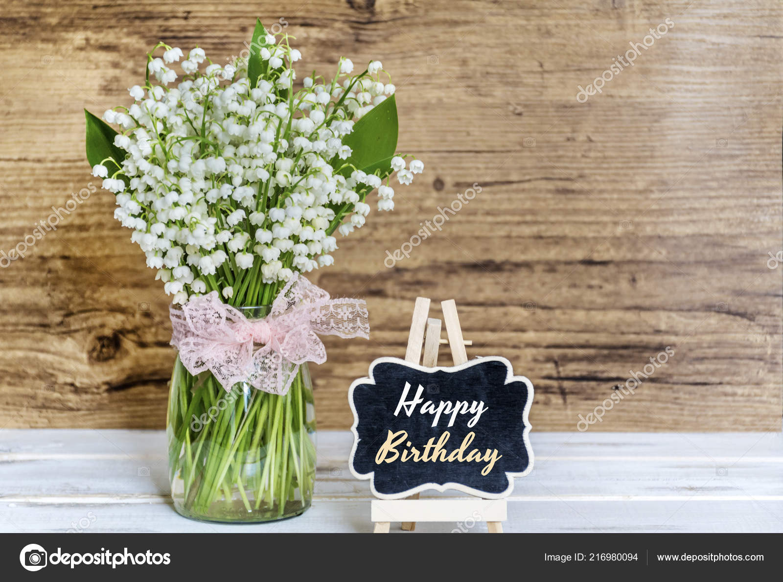 Images Happy Birthday With Lily Of The Valley Bouquet Lily Valley Flowers Happy Birthday Greeting Card Stock Photo C Brnmanzurova Gmail Com 216980094