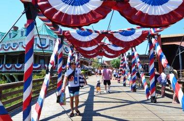 SALOU, SPAIN - JUNE 10: Port Aventura Amusement Park in Spain.American West Area  with Flags of America