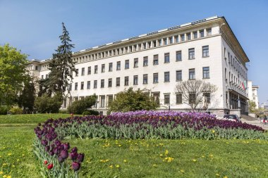 SOFIA ,BULGARIA- APRIL 10: the national bank in the  center of the city of Sofia, Bulgaria on April 10 ,2017