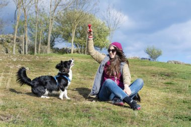 young woman  with border collie  dog playing on a green meadow