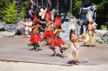 SALOU, SPAIN - June 20 : PortAventura theme park in Salou, Spain. Dancers Performance Traditional Show at Polynesian Area.