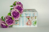 beautiful hair ornament with flowers with a Provence style gift box
