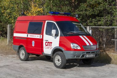 Surgut, Russia. 09/21/2018. The car of the Russian rescue service is red.