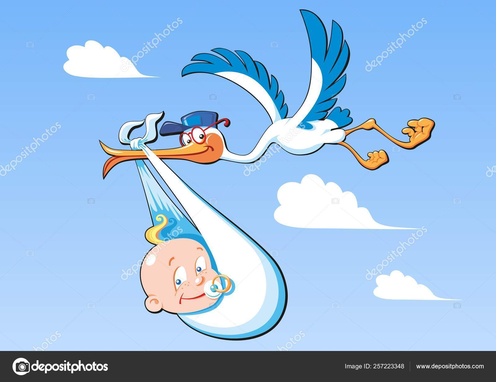 Cute Cartoon Stork And Baby A Flying Bird Carrying A Newborn Ba Stock Vector C Cobalt 70 257223348