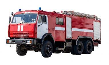 Rusya'nın büyük kırmızı kurtarma arabası, beyaz izole.