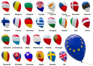 Flags of EU member states. A set of isolated 3D images of balloo
