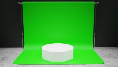 White podium standing on green screen background in a studio, professional backdrop 3D render.