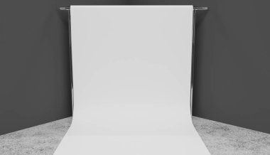 Smaller white screen setup in a studios corner. Grey walls, concrete floor. 3D render.
