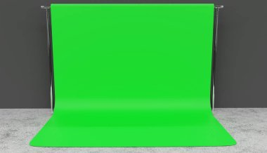 Clean render of a green screen setup in a studio for professional filming. Grey walls, concrete floor.