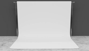 White screen background studio setup 3D render. Grey walls, concrete floor.