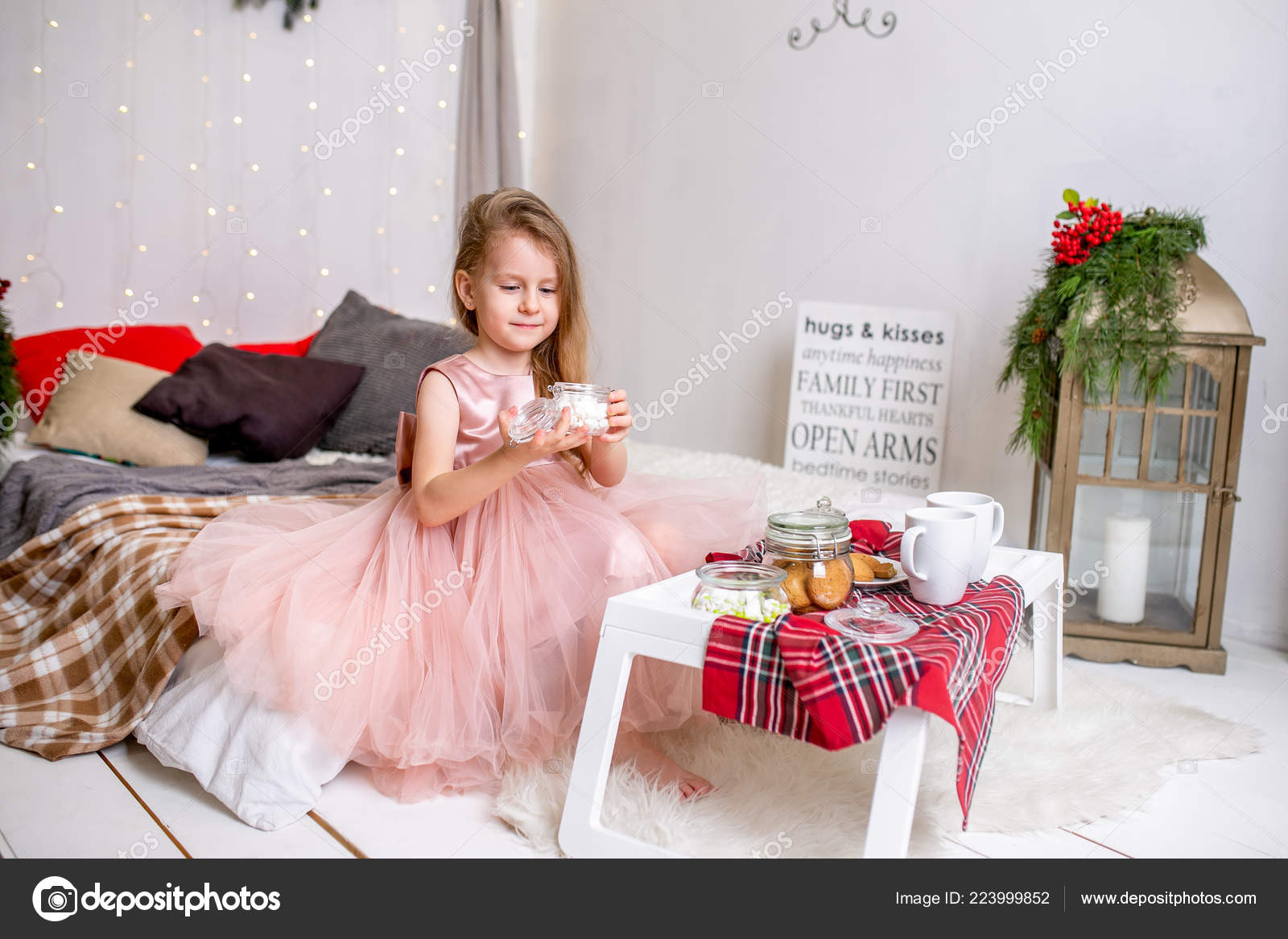 Pretty Little Girl Years Old Pink Dress Child Christmas Room Stock Photo Image By C Goodcat88 223999852