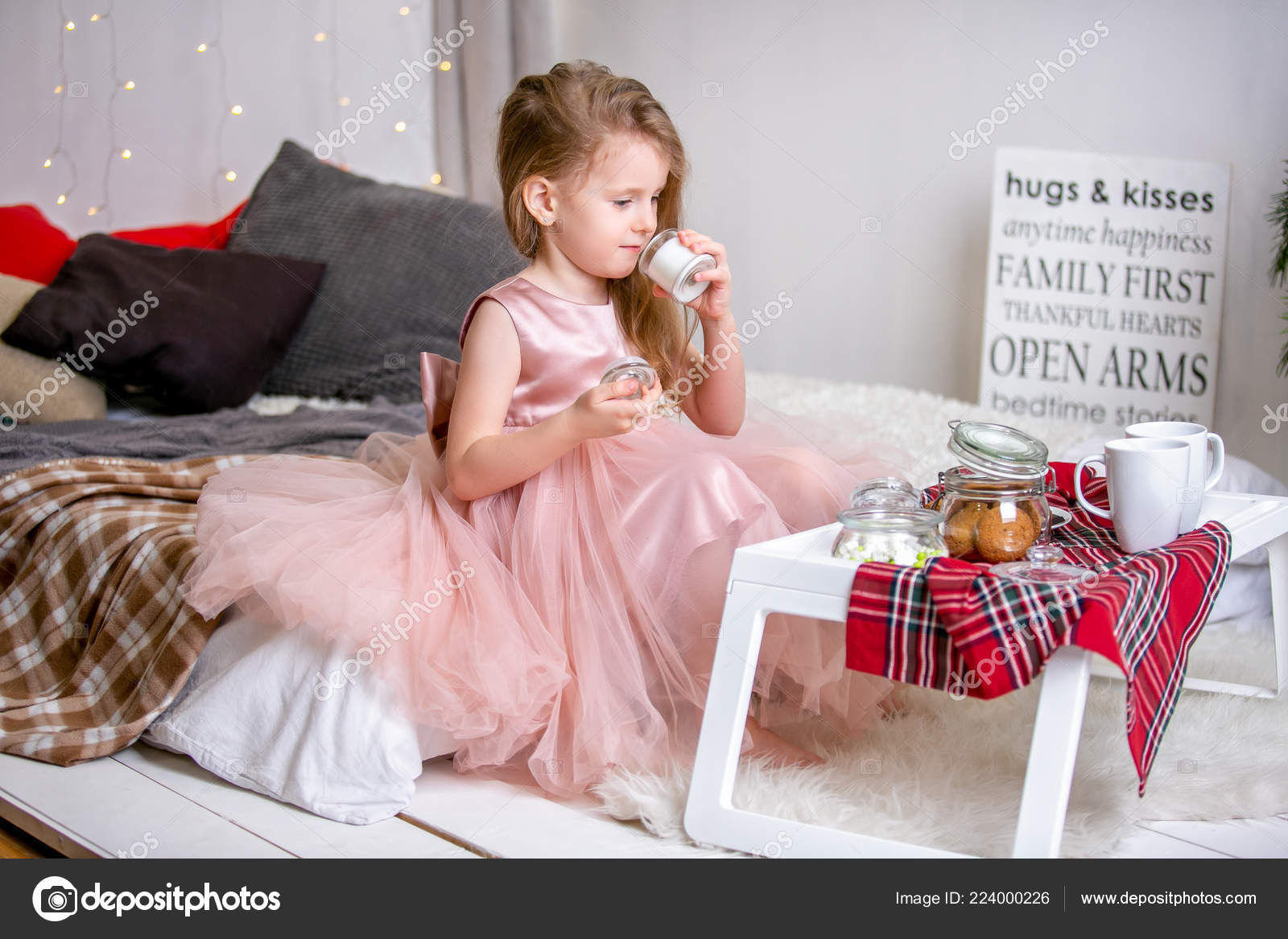 Pretty Little Girl Years Old Pink Dress Child Christmas Room Stock Photo Image By C Goodcat88 224000226