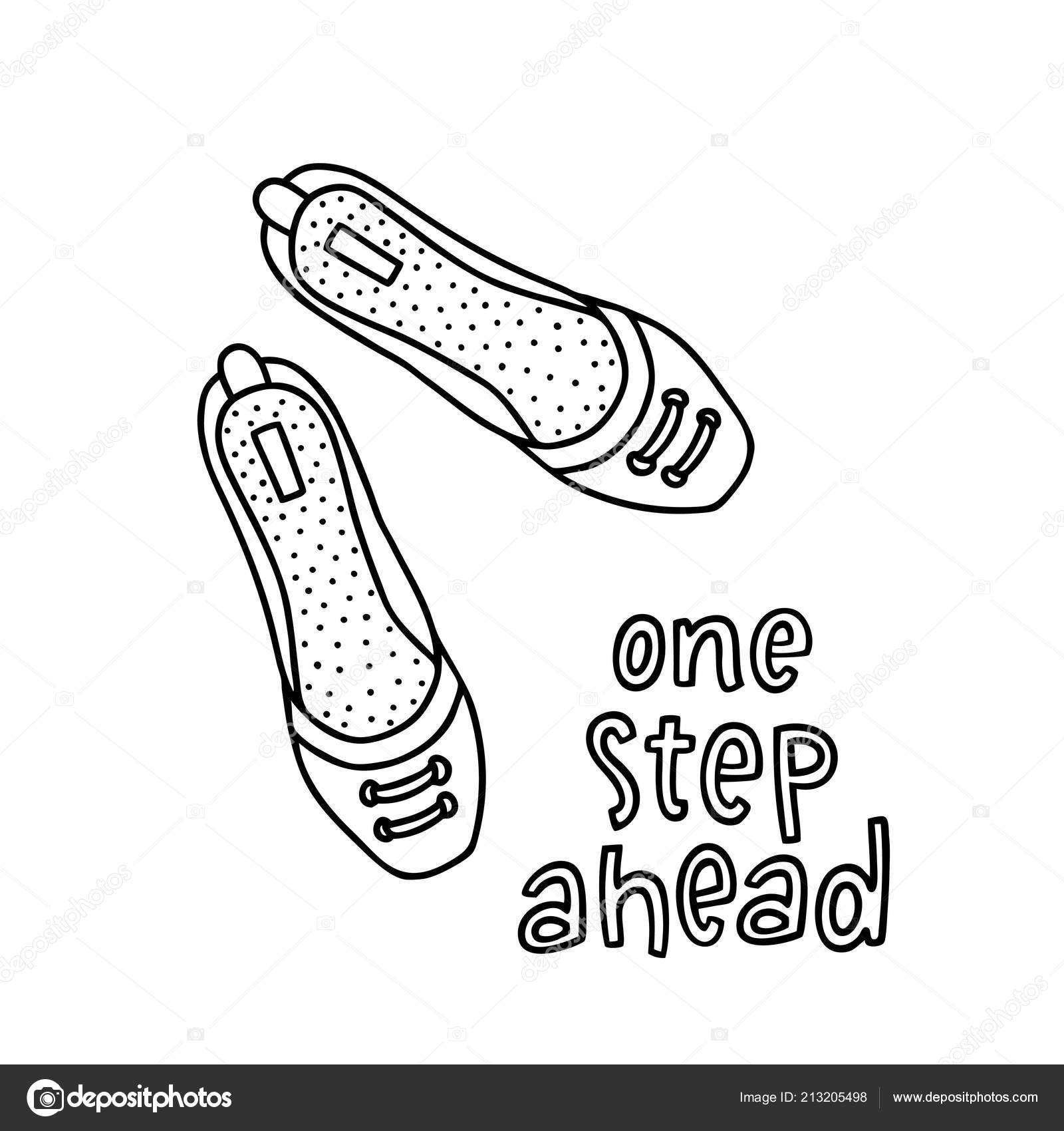 e9c4581133a80 Pair shoes for girl and woman with a handwritten word One Step Ahead. Hand  drawn outline and stroke. Vector illustration can be used to design a  poster, ...