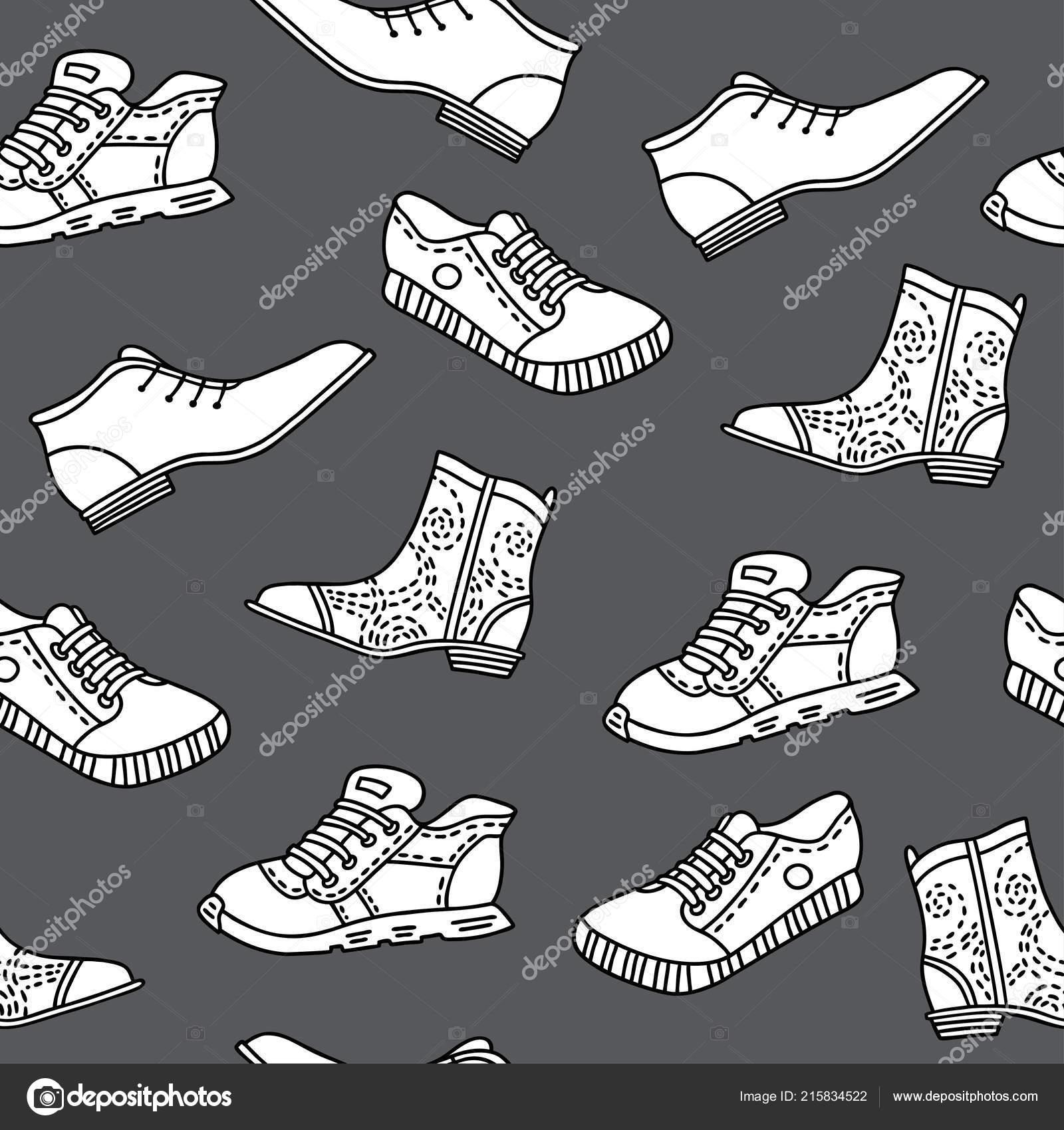 Nahtloses Muster Mit Hand Gezeichnet Schuhe Vektor Muster Linienart