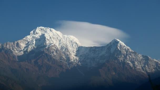 Annapurna South Peak and pass in the Himalaya mountains, Annapurna region, Nepal 4K