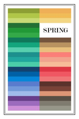 Stock vector color guide. Seasonal color analysis palette for spring type. Type of female appearance
