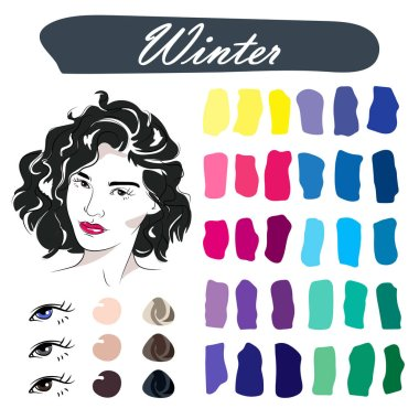 Stock vector seasonal color analysis palette. Hand drawn girl with winter type of female appearance.