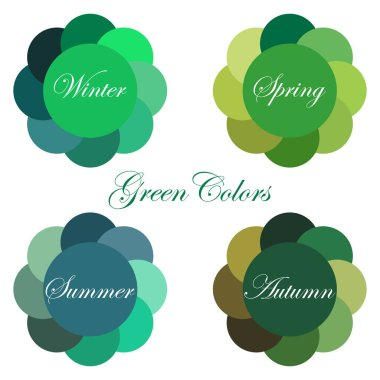 Stock vector  seasonal color analysis palettes with green colors for Winter, Spring, Summer, Autumn