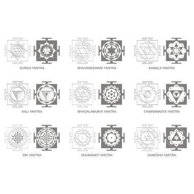 Vector icon with Yantra Hinduism symbols