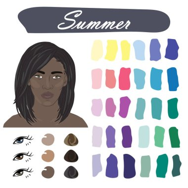 Stock vector color guide. Seasonal color analysis palette for summer type of female appearance. Face of young african american woman