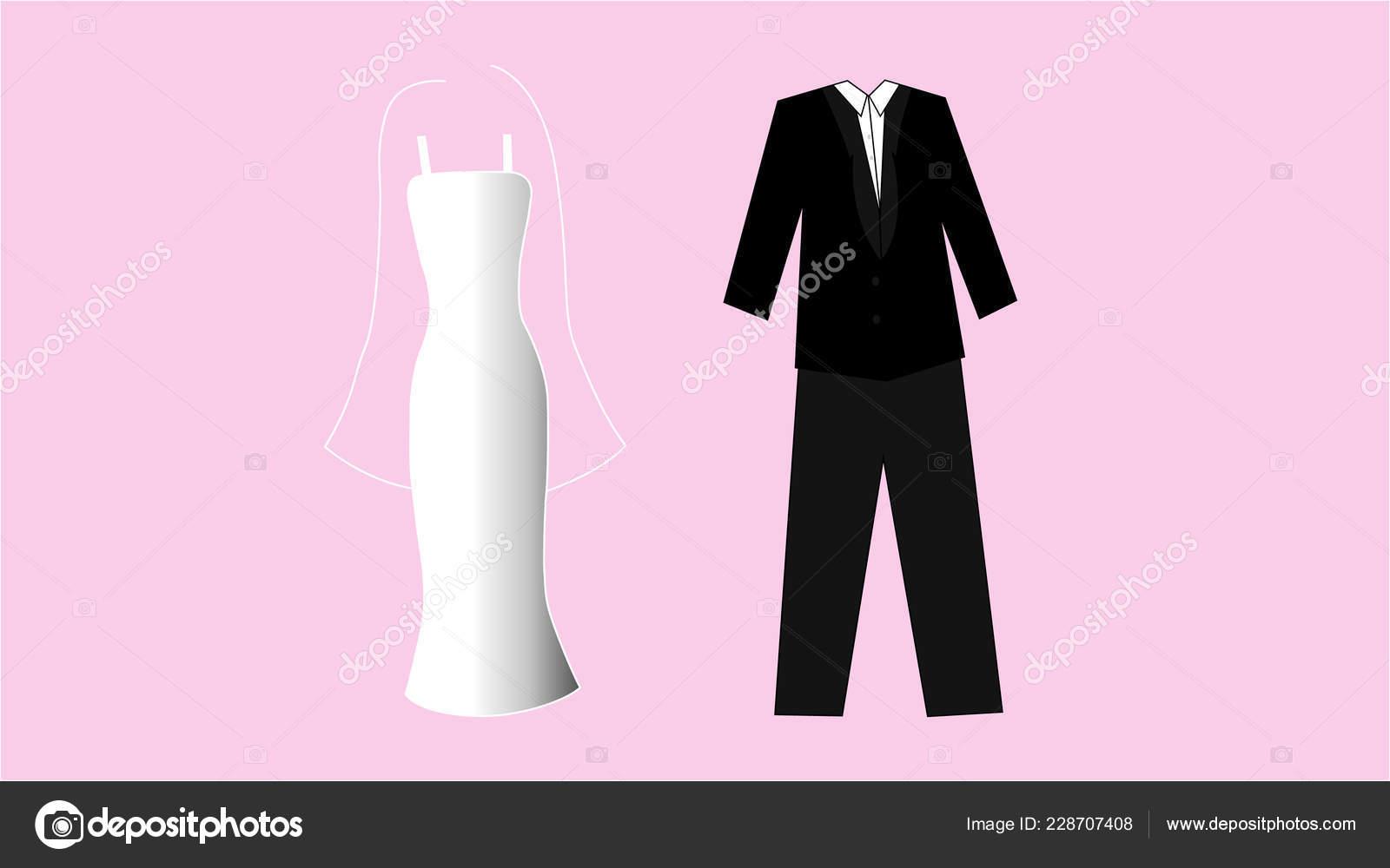 Illustration White Wedding Dress Black Suit Pink Background Stock Vector: Black Suit Pink Wedding Dress At Reisefeber.org