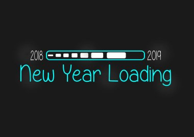 2019 Happy New Year card design. Greetings card. Vector happy new year Loading greeting illustration