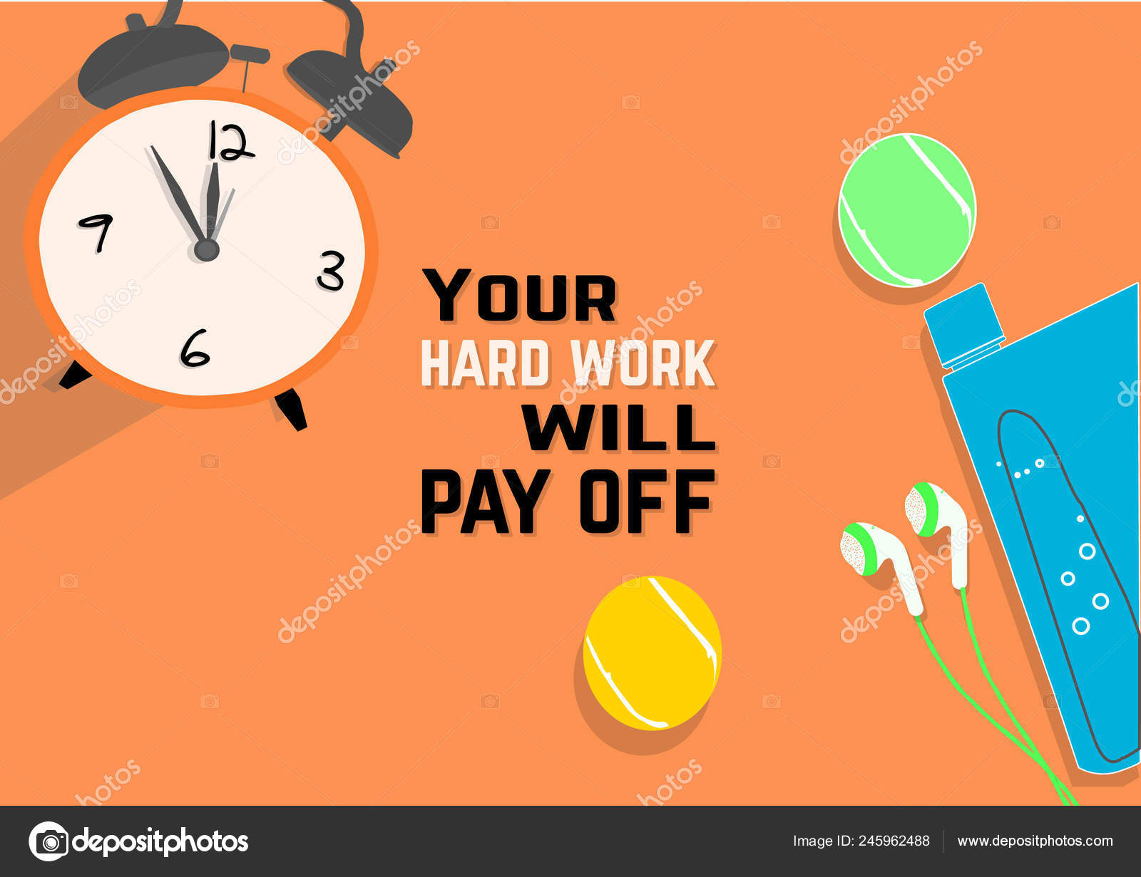 Your Hard Work Pay Fitness Motivation Quotes Sport Concept Vector