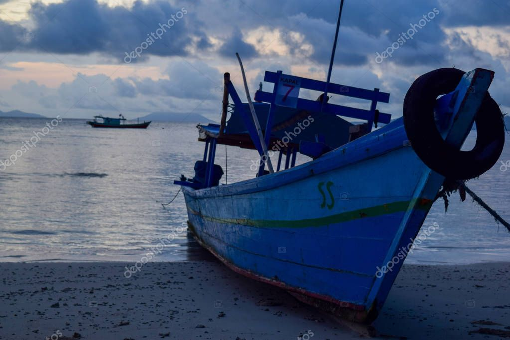 traditional fishing wooden boat near pahawang island. Bandar Lampung. Indonesia. Traveling concept. Upload at Lampung, Indonesia in March 2019.