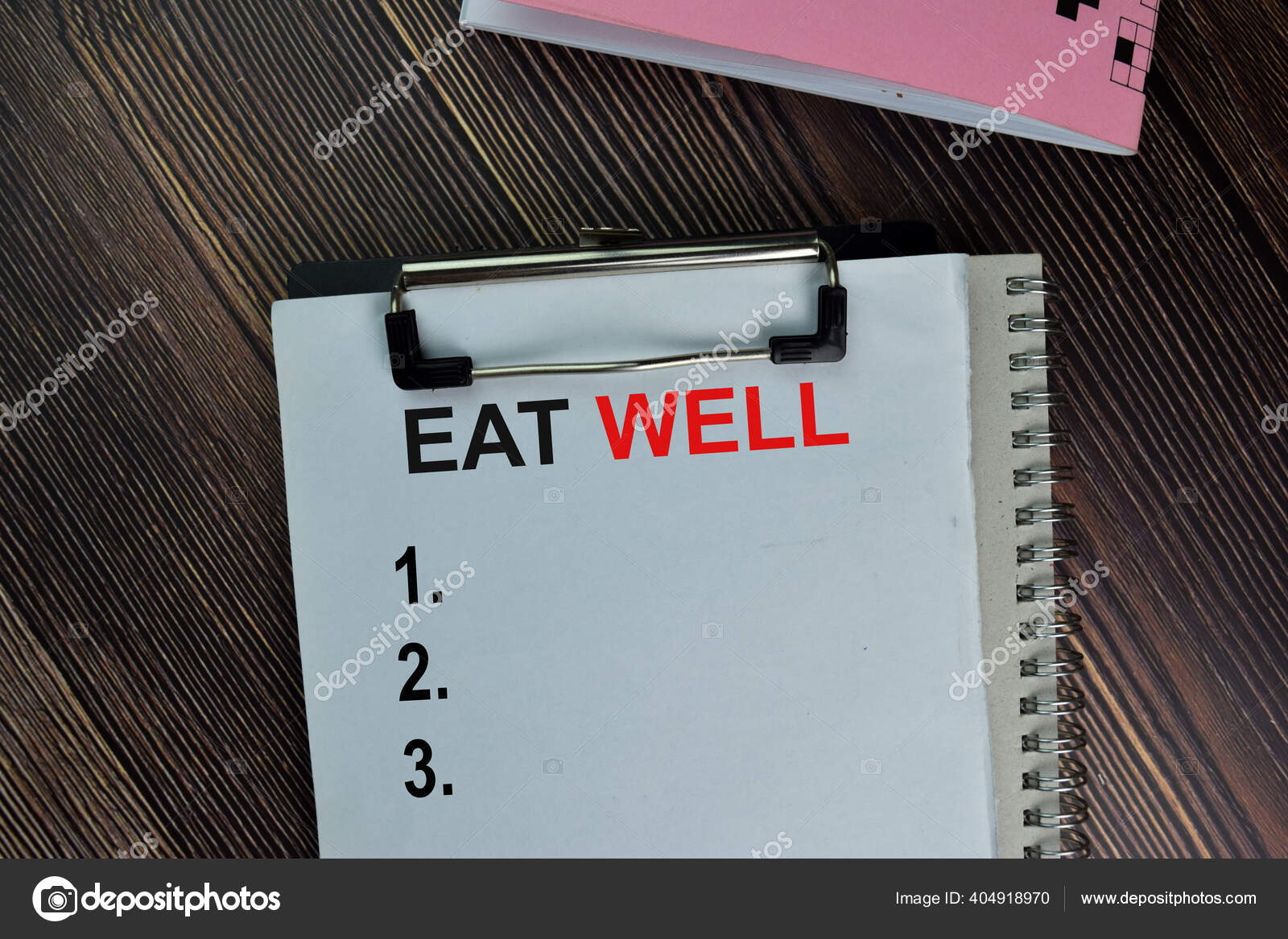 Eat Well Write Paperwork Supported Additional Services Isolated Wooden Table Stok Foto C Olanstock 404918970