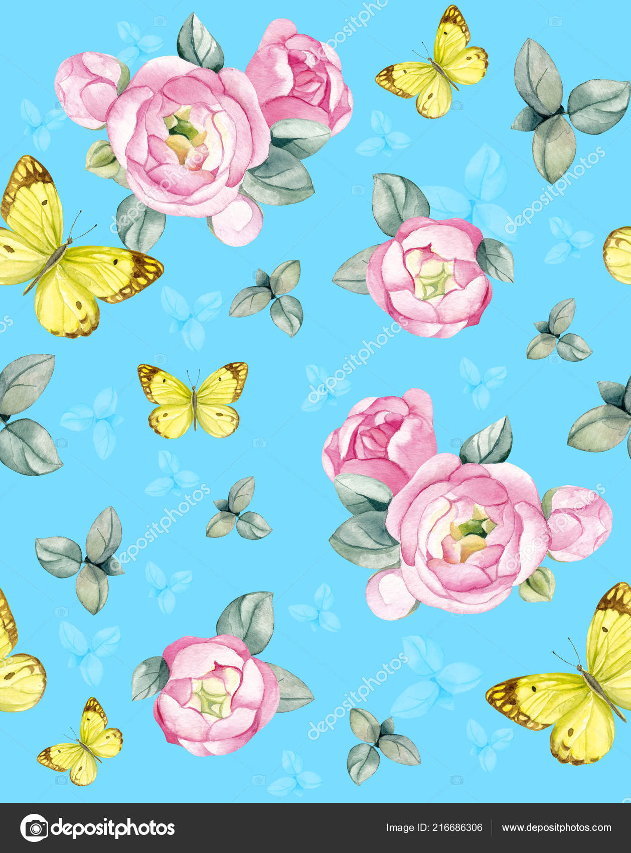 Flower Arrangement Pink Roses Butterfly Blue Background Suitable Invitations Business Stock Photo C Nezabudka Watercolor 216686306