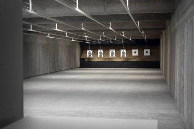 Shooting range. Shooting target on a sports shooting range