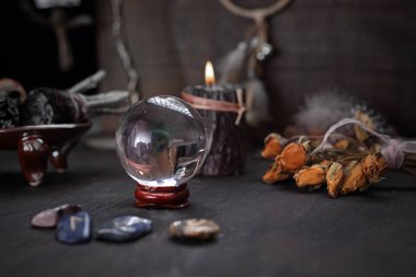 Magic ball. Divination from a glass ball.