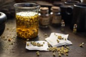 Fotografie Chamomile, herbs in traditional medicine, home medicine cabinet