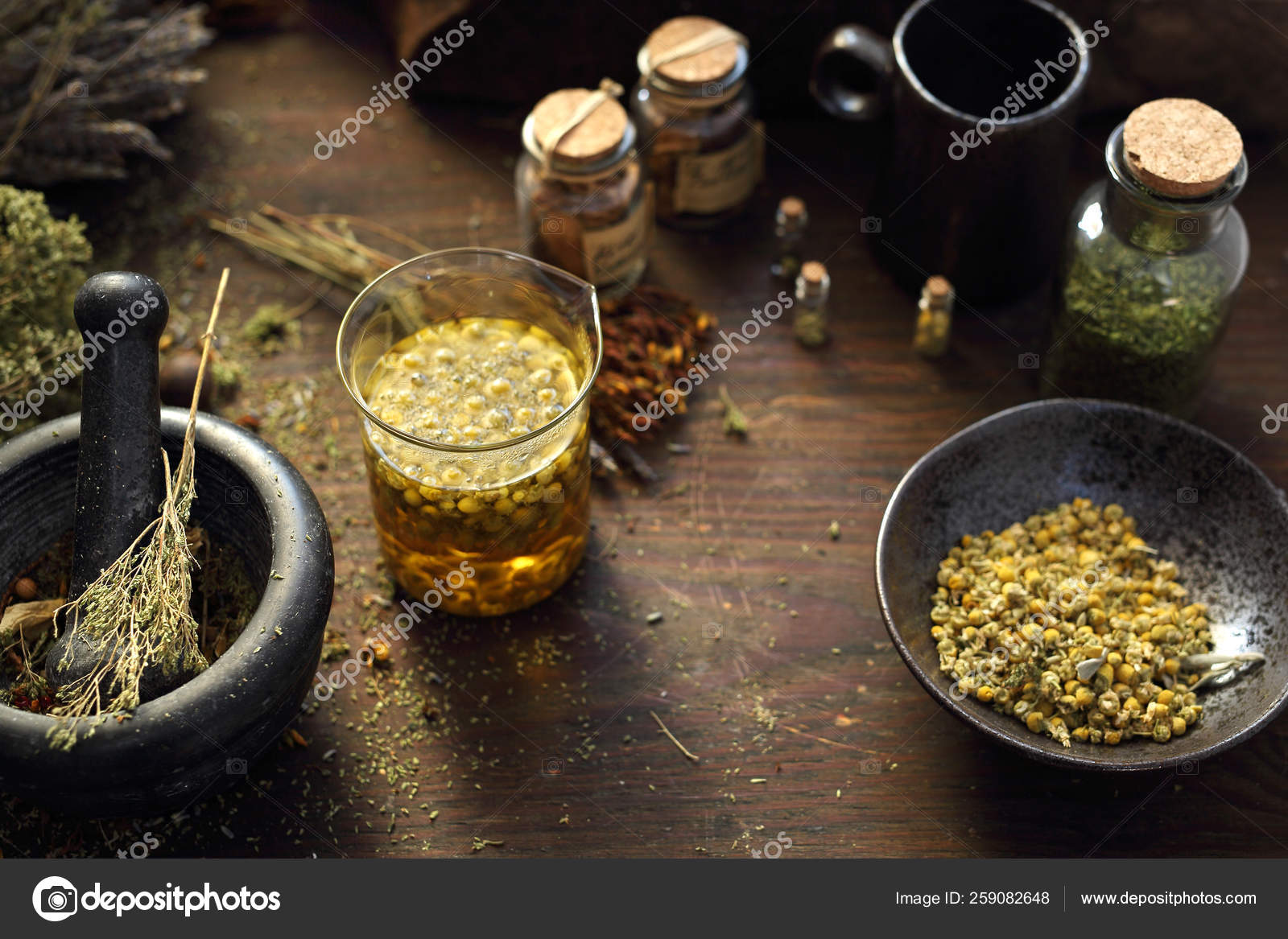 Herbal Medicine Chamomile Lavender Horsetail Nettle Herbs In Traditional Medicine Home Medicine Cabinet Stock Photo C Robertprzybysz 259082648