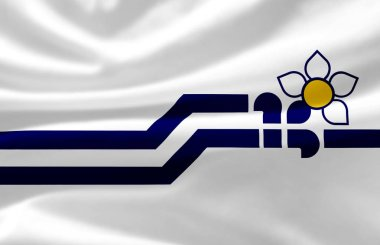 Franco-Colombiens waving flag illustration.