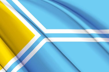 Tuva 3D waving flag illustration.