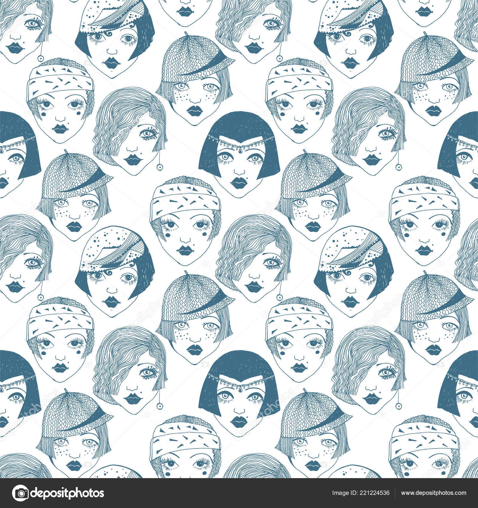 Flapper girls de patrones sin fisuras de las mujeres de la década de ...